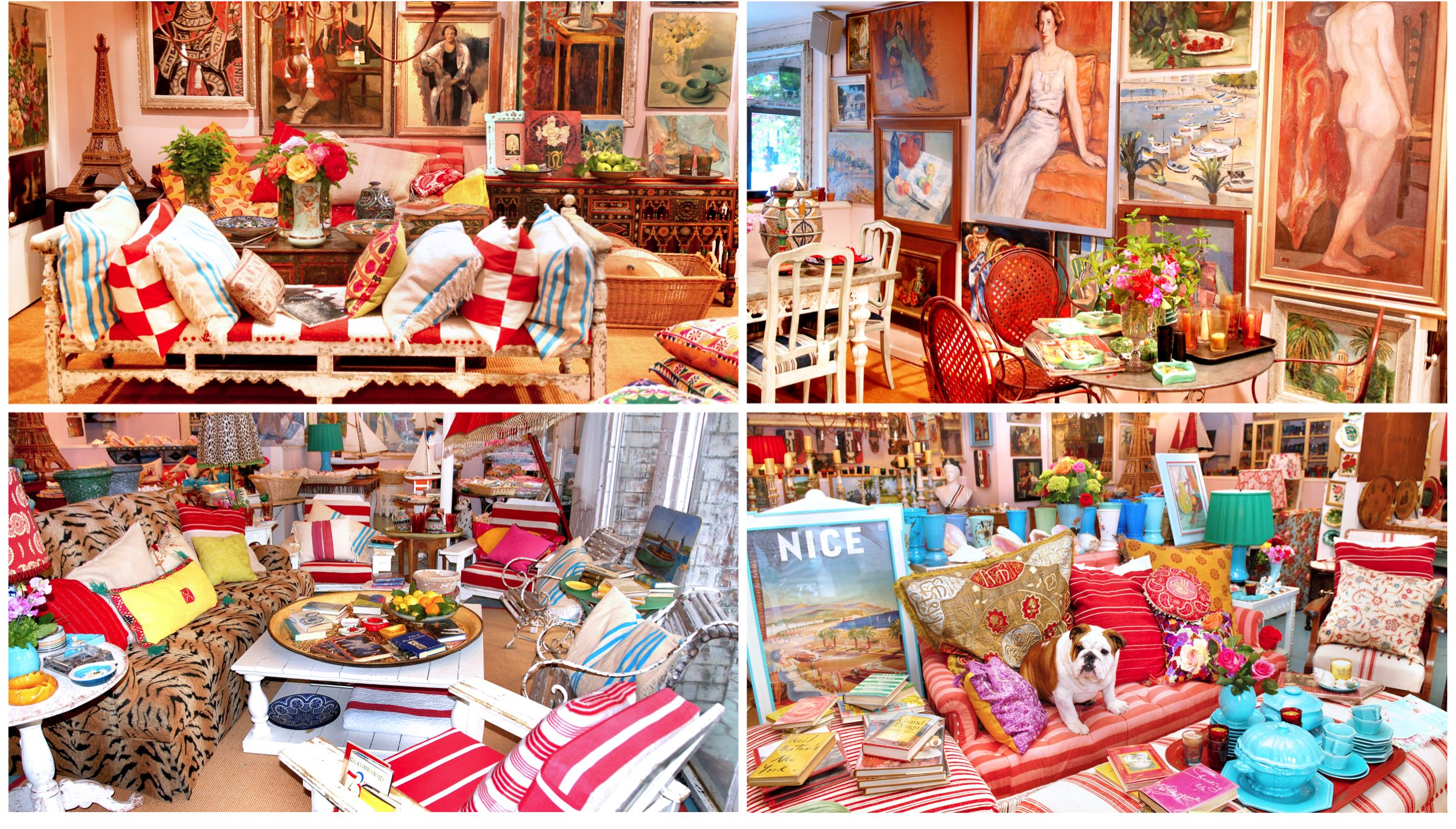 Collage of four images of the Indigo Seas shop interior including sitting areas and tea sets