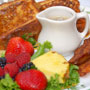 French Toast with bacon and fruit