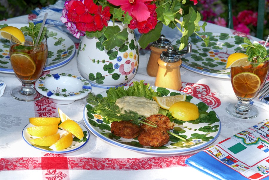 The Ivy Restaurant Table Setting Of Croquettes And Iced Tea