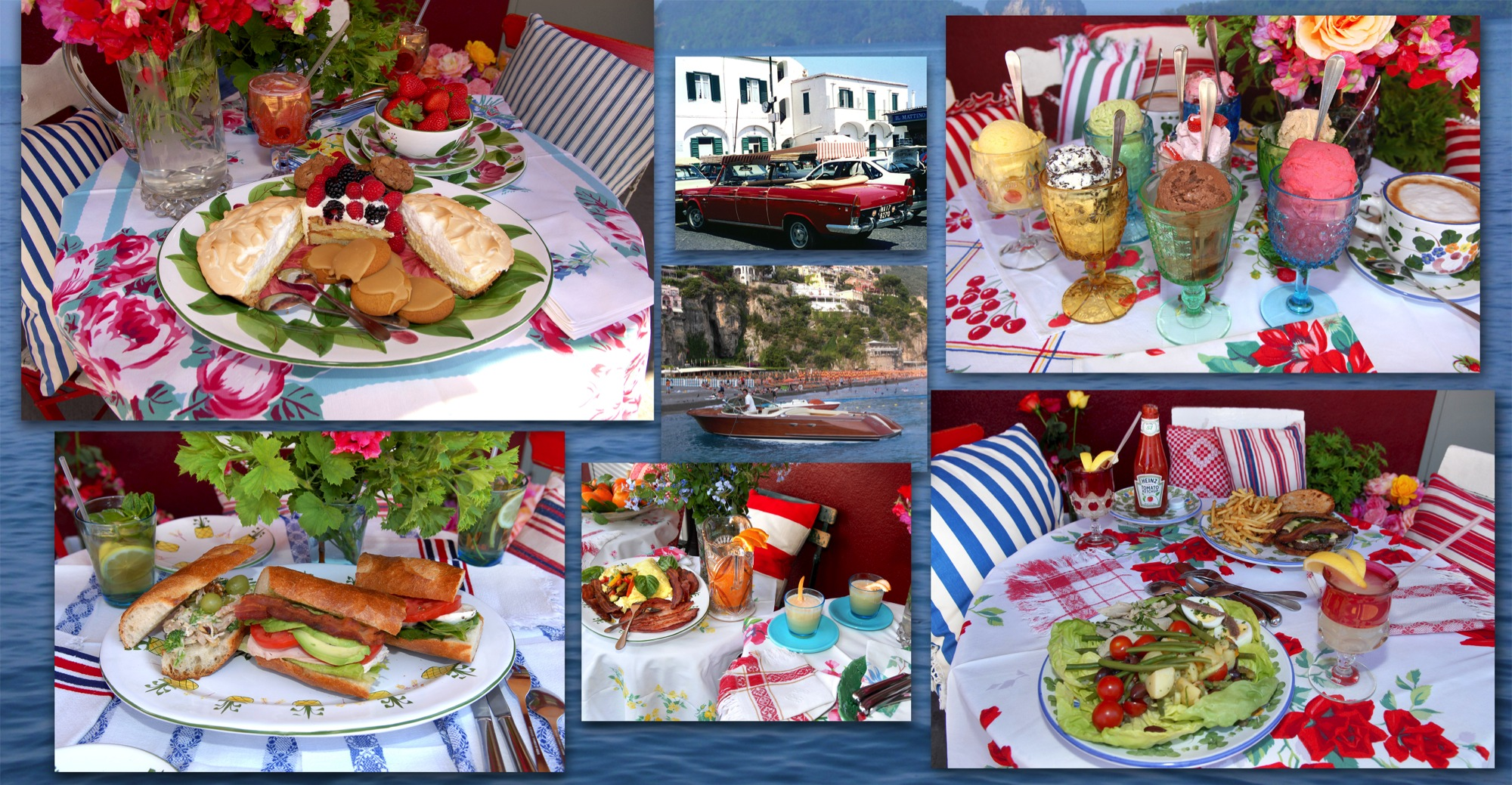 Image collage of table settings, food, drinks and desserts at Dolce Isola