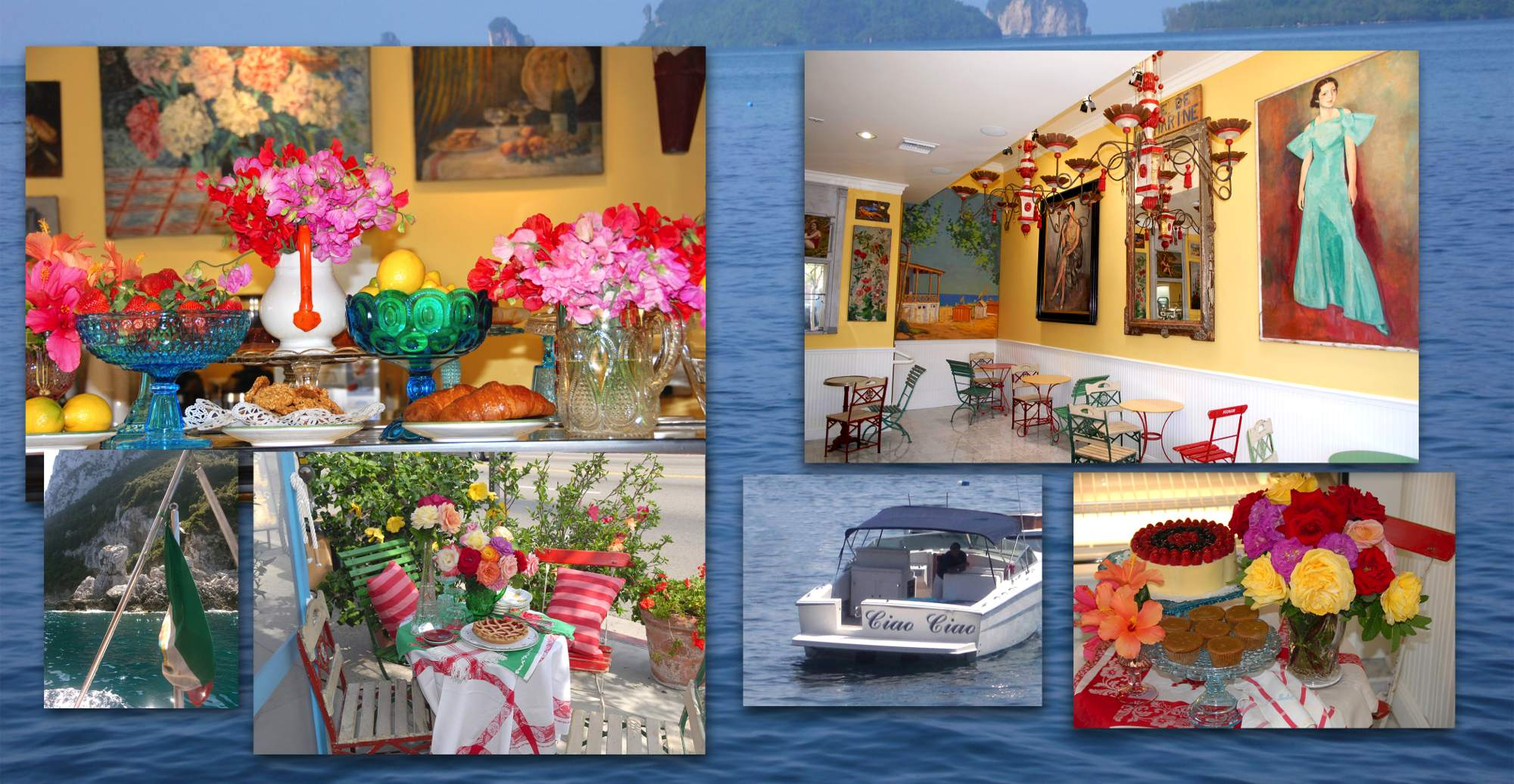 Image collage of interior of Dolce Isola, Croissants, outdoor seating and dessert displays